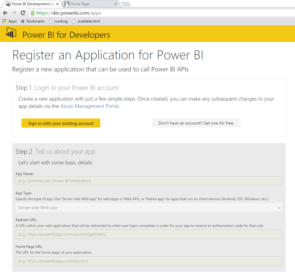 Power BI Application Registration Page
