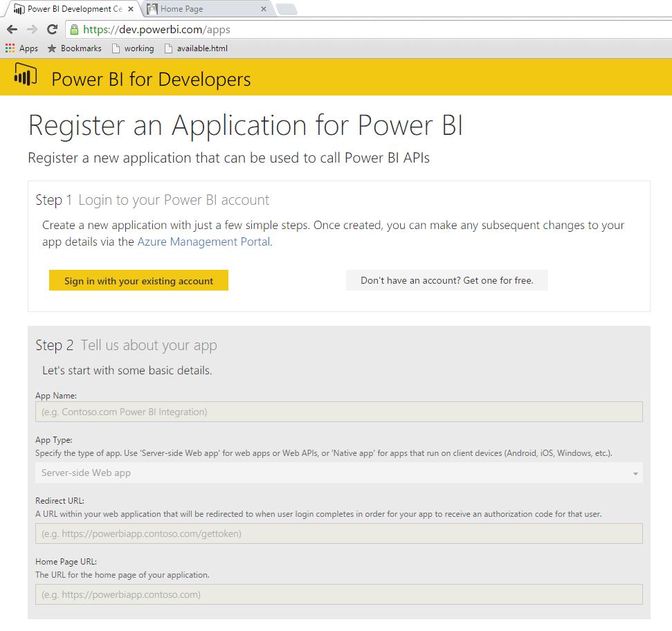 Power BI Application Registration Page
