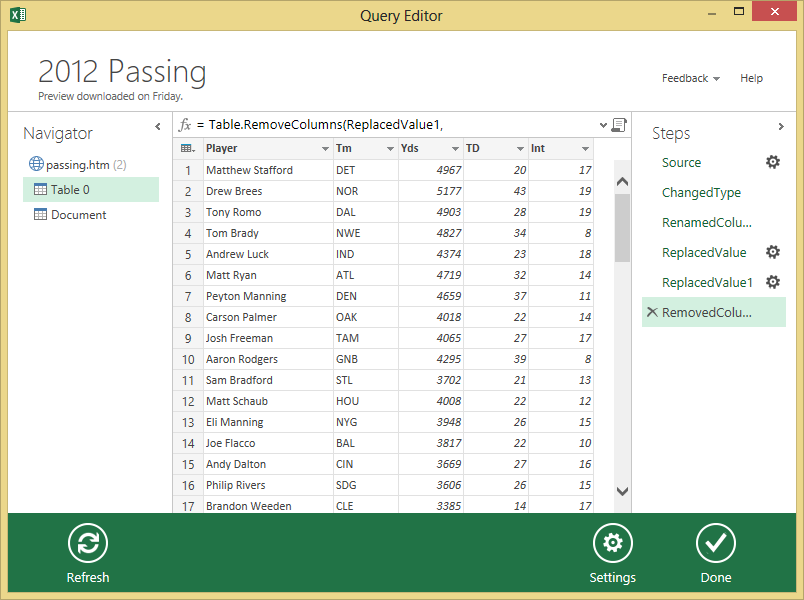Use Power Query To Draft A Fantasy Football Team | Microsoft