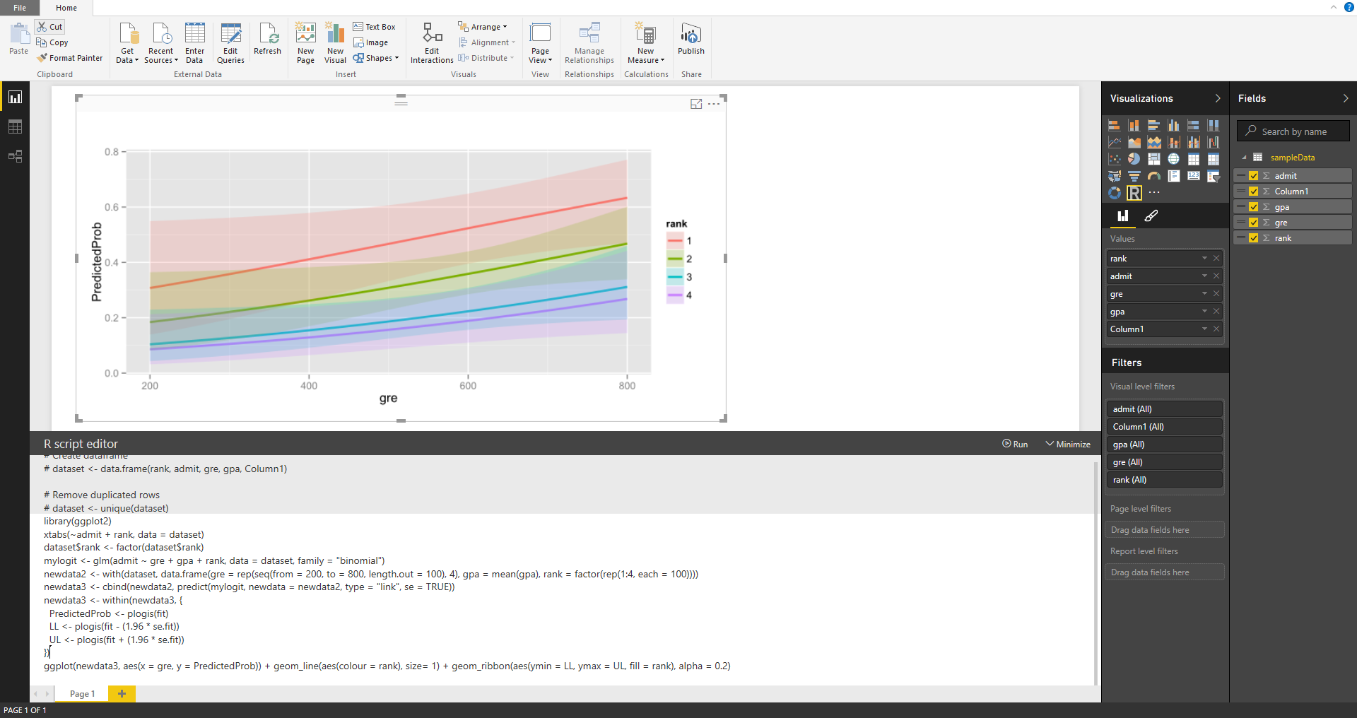 Announcing preview of R Visuals in Power BI Desktop