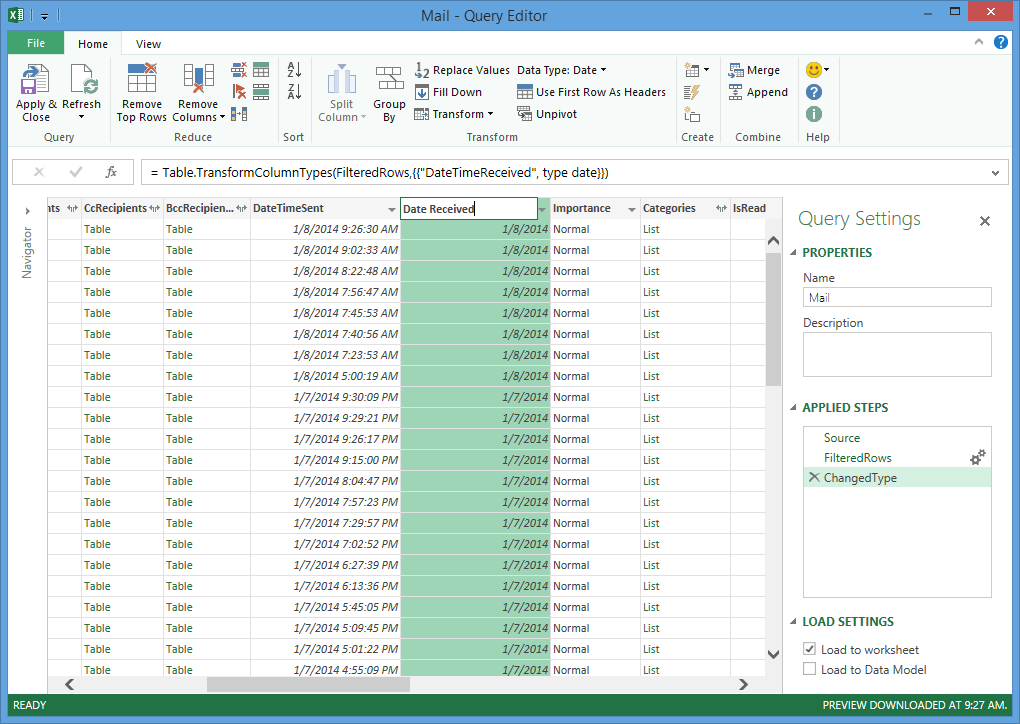 Analyzing your Microsoft Exchange Account Data with Power