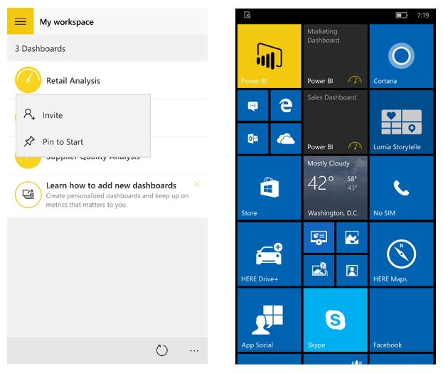 announcing the power bi app for windows 10 mobile microsoft power