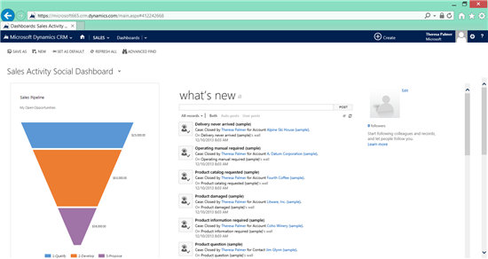 Sign into your Dynamics CRM Online dashboard