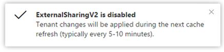 External sharing disabled notification