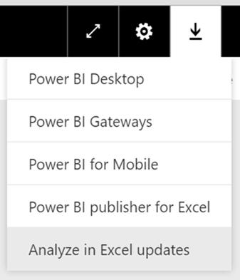 Analyze in Excel drop down