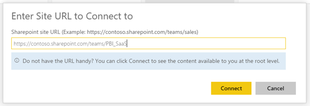 SharePoint team site URL dialog