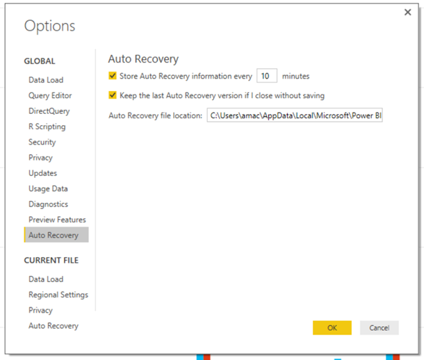 Auto Recovery Options Dialog