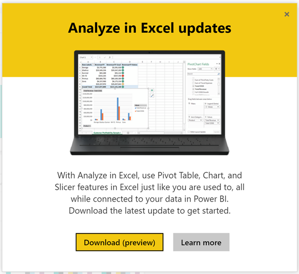 Analyze in Excel download popup