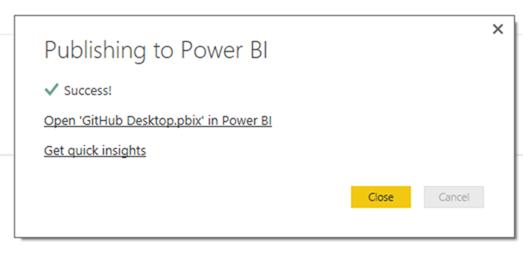 Power BI Desktop publish quick insights link