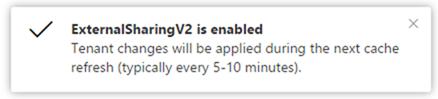 External sharing enabled notification