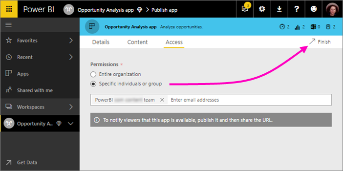 distribute to large audiences with power bi apps | microsoft power