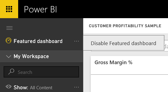 featured dashboard disable