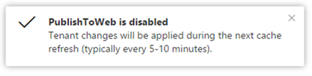Publish to web disabled confirmation