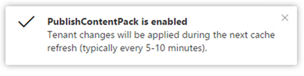 Publish content pack to organization enabled notification