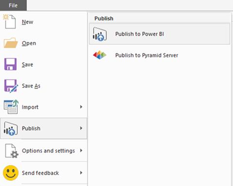 Power BI Desktop file menu - publish